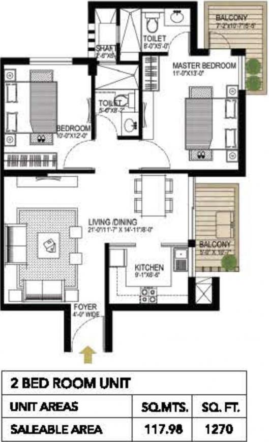 Gurgaon One 84 Floor Plan: 2 BHK Unit with Built up area of 1270 sq.ft 1