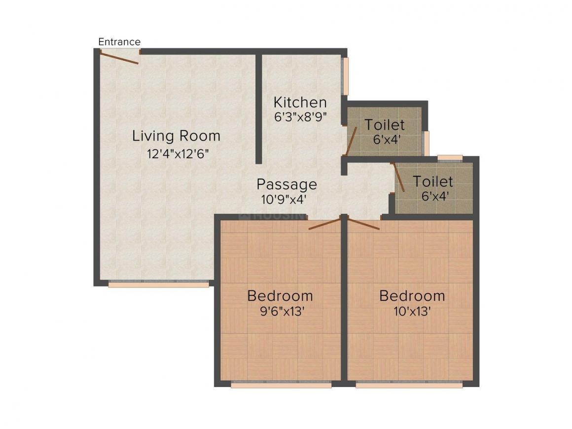 Floor Plan Image of 700 - 1250 Sq.ft 1 BHK Apartment for buy in 121 Mishal Gurudatt