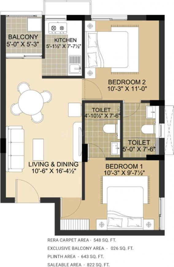 Lancor Lumina 2020 Floor Plan: 2 BHK Unit with Built up area of 822 sq.ft 1