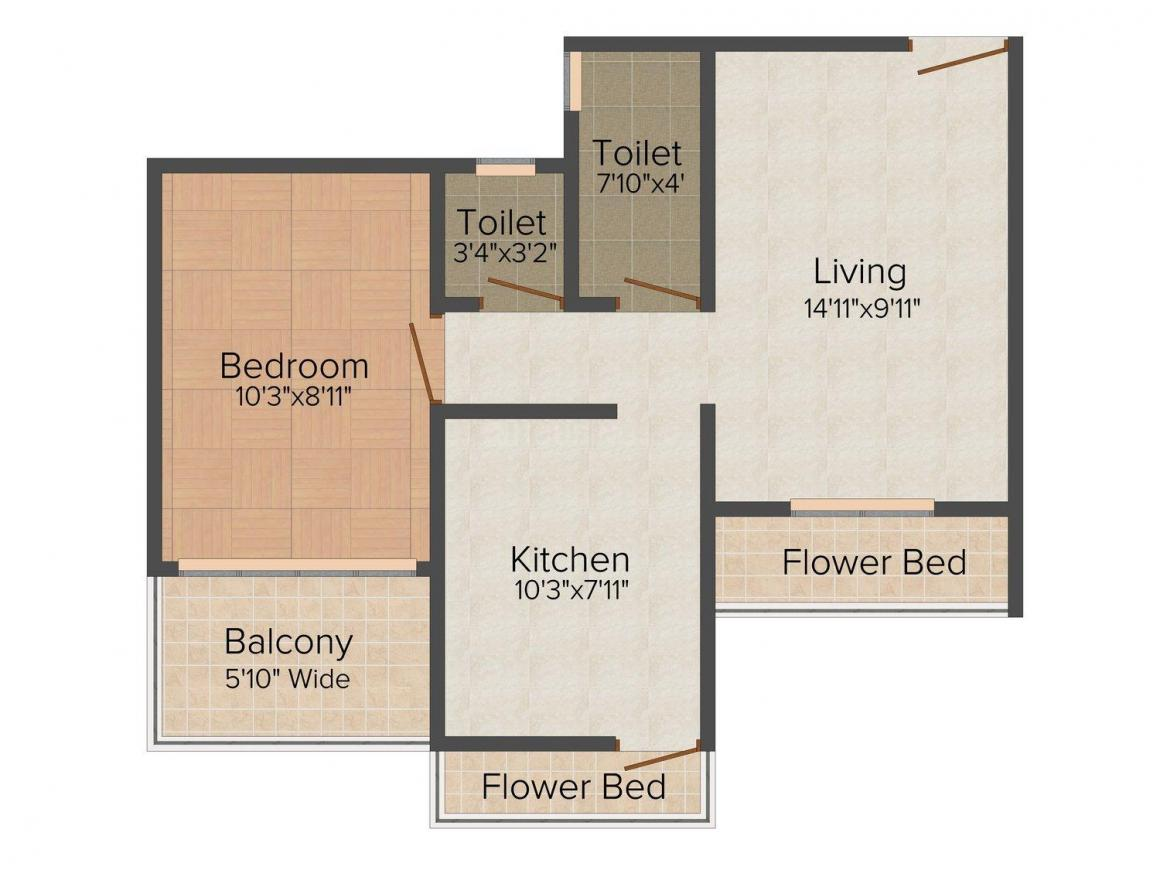 Floor Plan Image of 530.0 - 650.0 Sq.ft 1 BHK Apartment for buy in Mrunmayi Palace