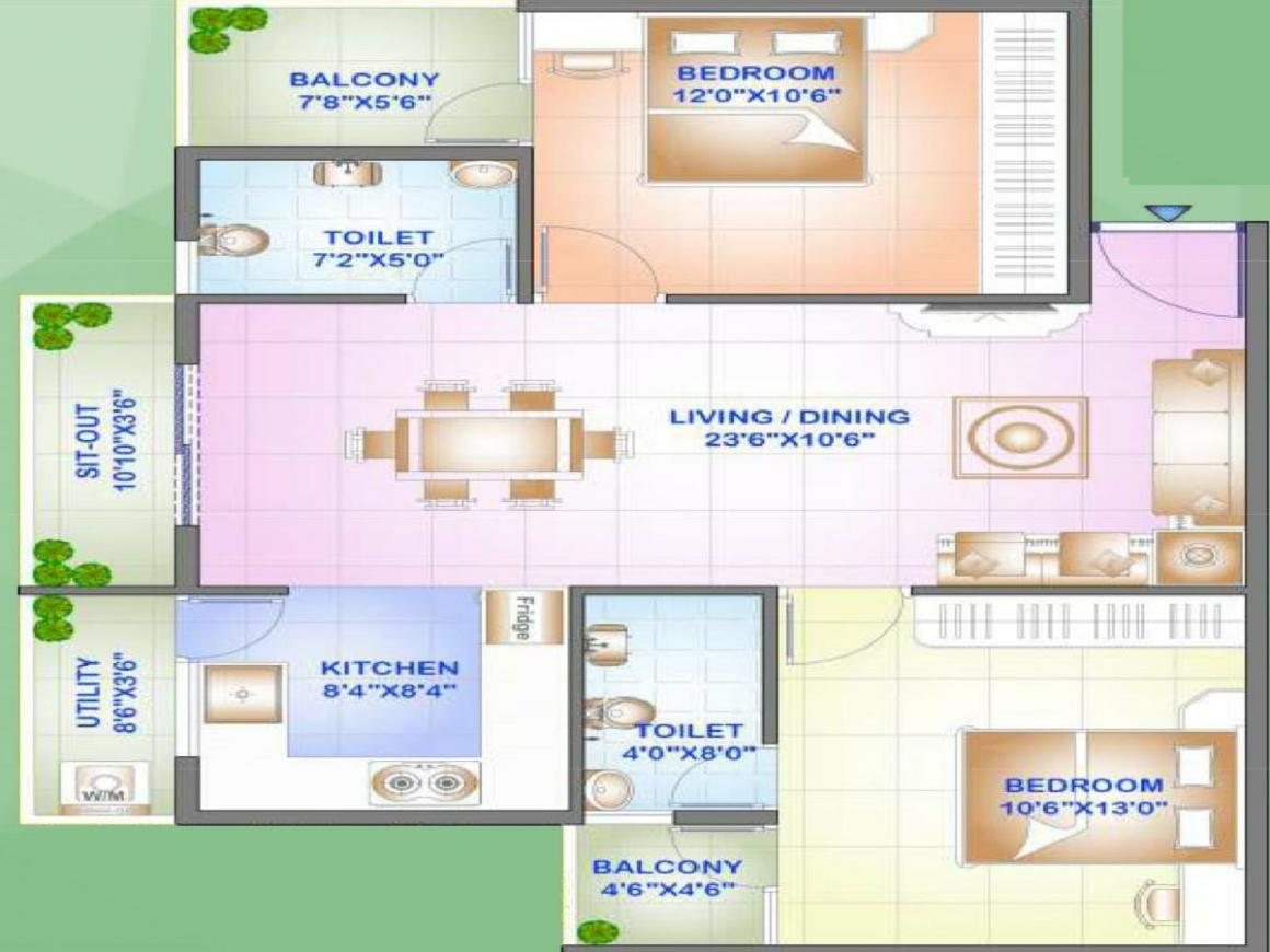 Emmay Environs Emmay Environs Pride Floor Plan: 2 BHK Unit with Built up area of 1075 sq.ft 1