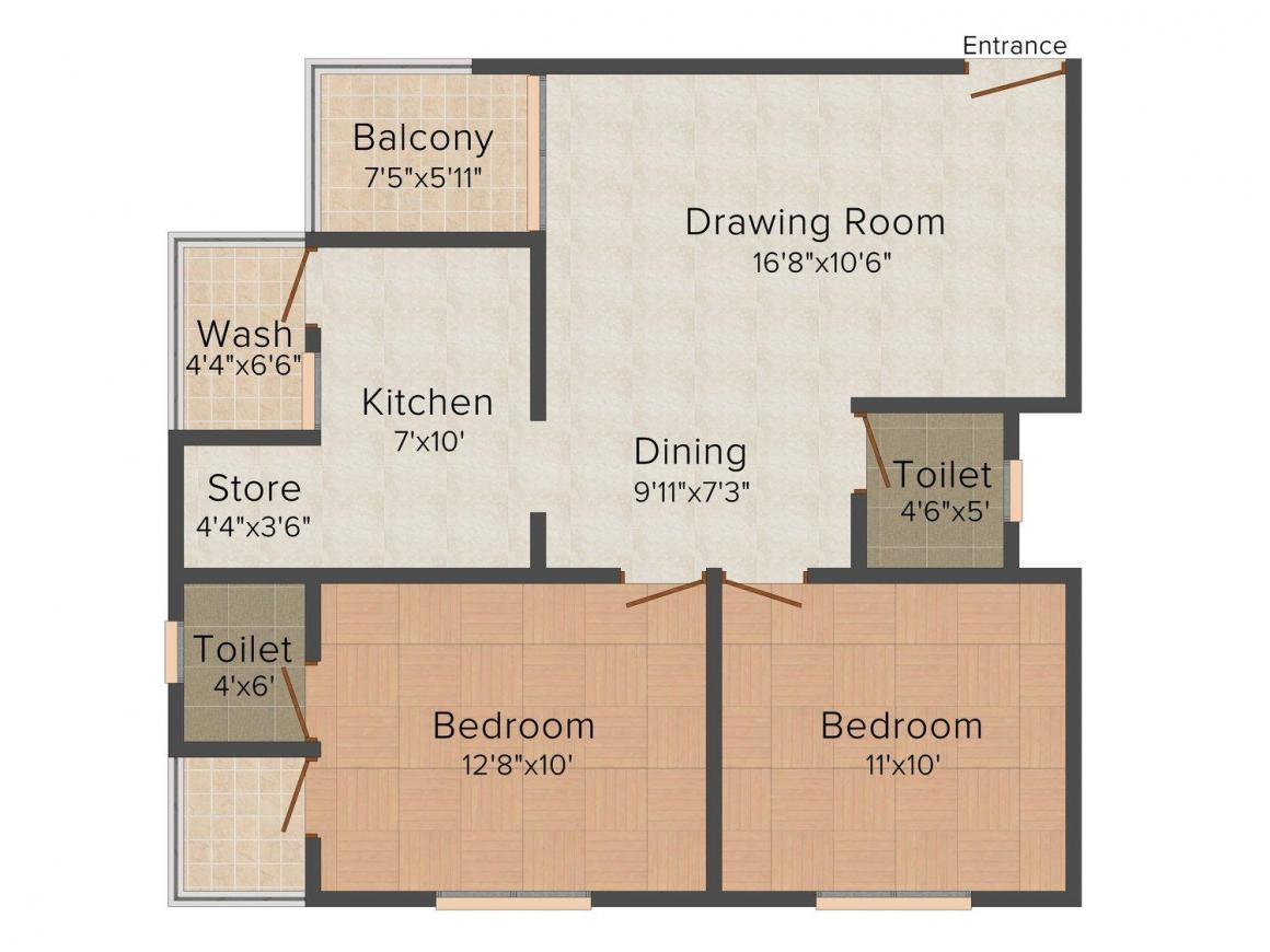 Shilp Solace Floor Plan: 2 BHK Unit with Built up area of 999 sq.ft 1