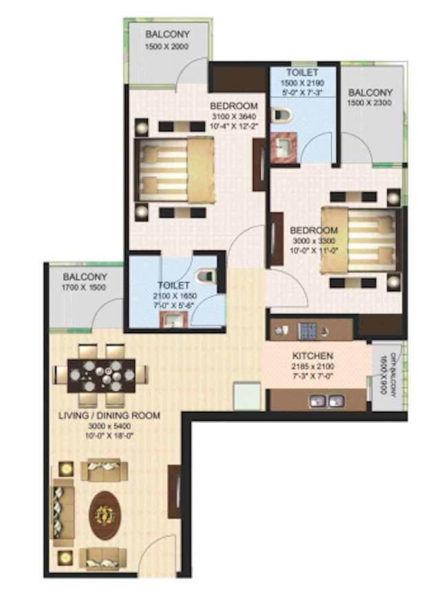 Aims Green Avenue Floor Plan: 2 BHK Unit with Built up area of 960 sq.ft 1