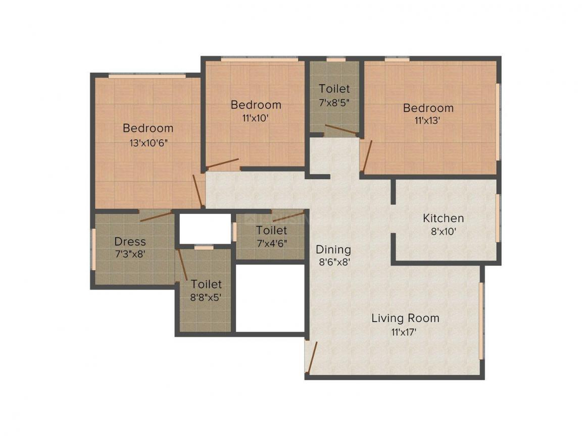 Floor Plan Image of 0 - 1060.0 Sq.ft 3 BHK Apartment for buy in Sun-Vision Solitaire