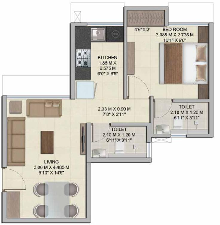 Wadhwa Wise City South Block Phase I Plot RZ8 Building 1 Wing A2 Floor Plan: 1 BHK Unit with Built up area of 391 sq.ft 1
