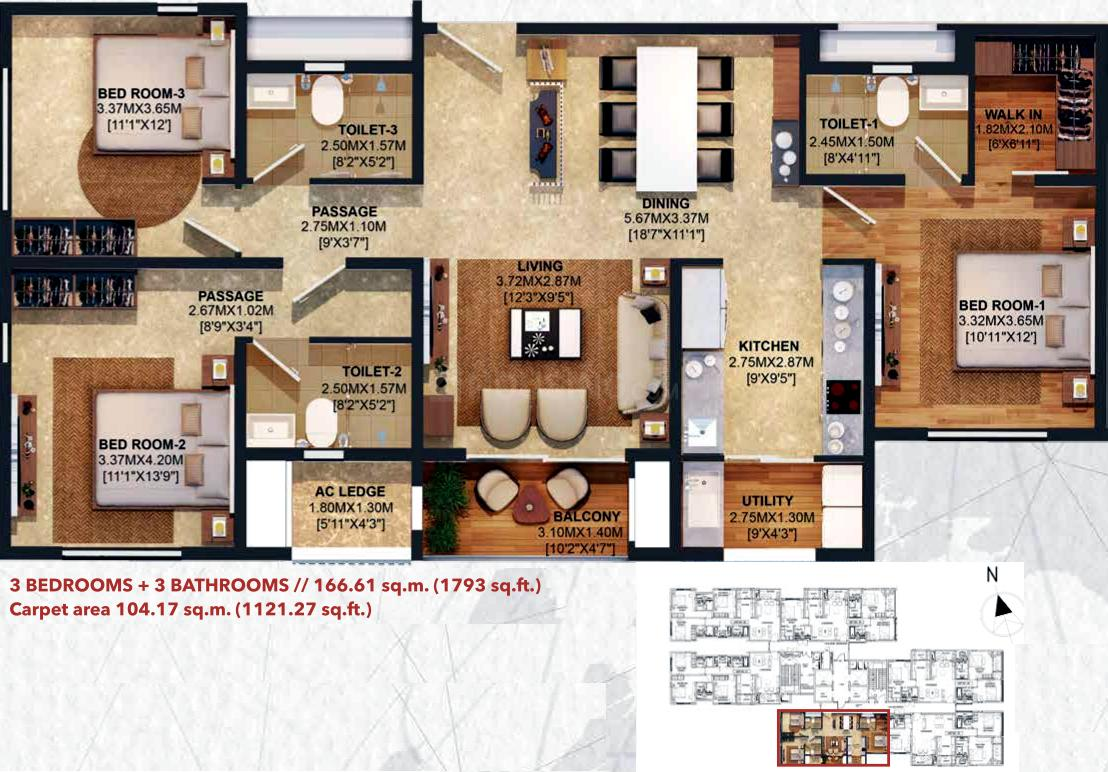 Brigade Residences Floor Plan: 3 BHK Unit with Built up area of 1793 sq.ft 1