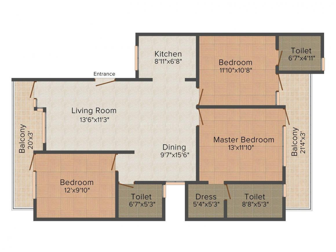 Floor Plan Image of 0 - 1350 Sq.ft 3 BHK Independent Floor for buy in Pride Floors 5