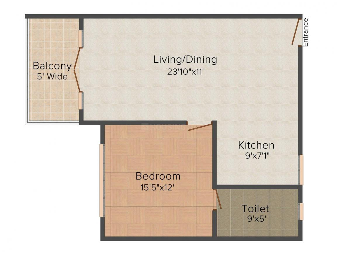 Floor Plan Image of 700 - 1163 Sq.ft 1 BHK Apartment for buy in Palacio Golden Retreat