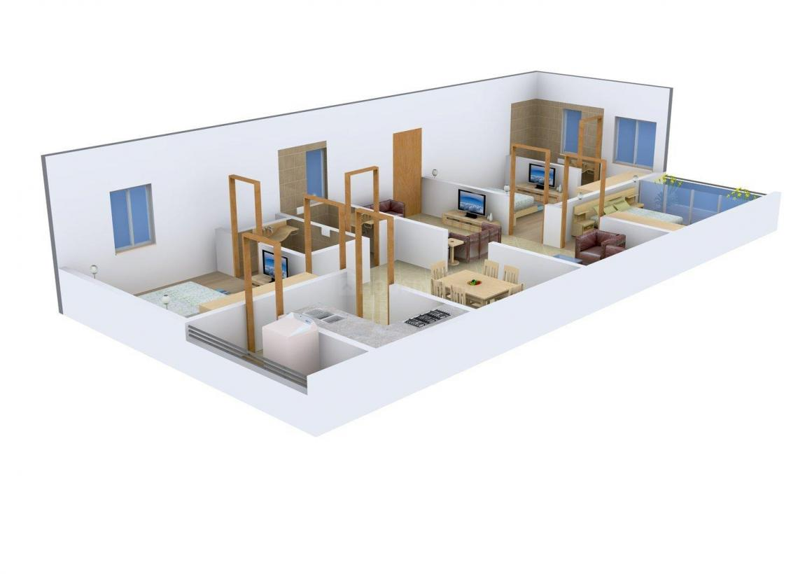 Floor Plan Image of 0 - 1154.0 Sq.ft 3 BHK Apartment for buy in CR's Serenity