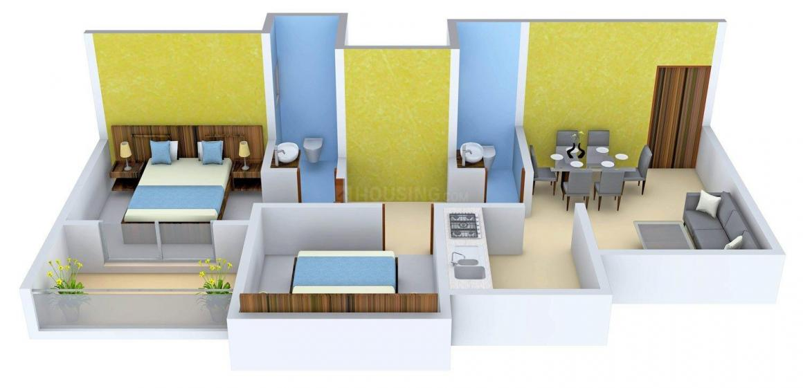 Floor Plan Image of 650.0 - 746.0 Sq.ft 2 BHK Apartment for buy in Sai Sankul