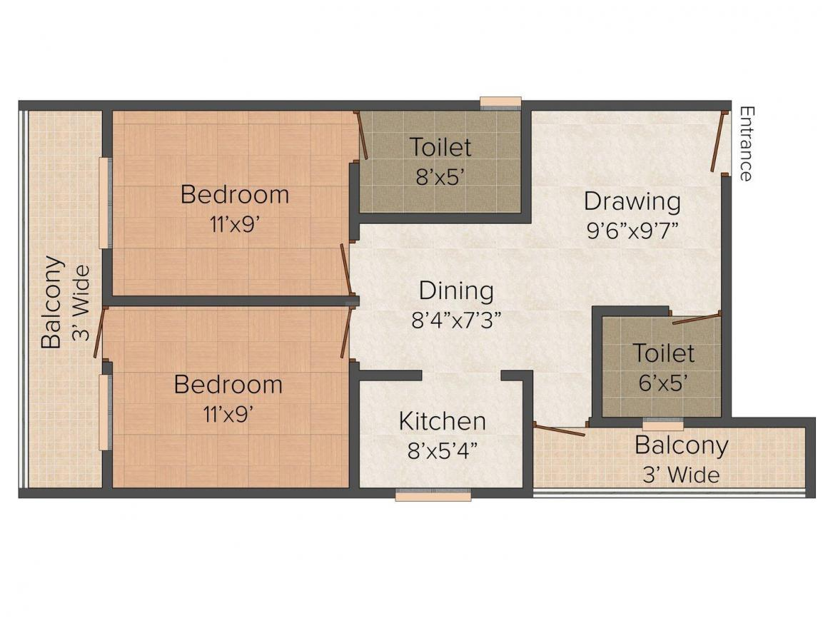 Gupta G Builder Site-B307 Floor Plan: 2 BHK Unit with Built up area of 500 sq.ft 1