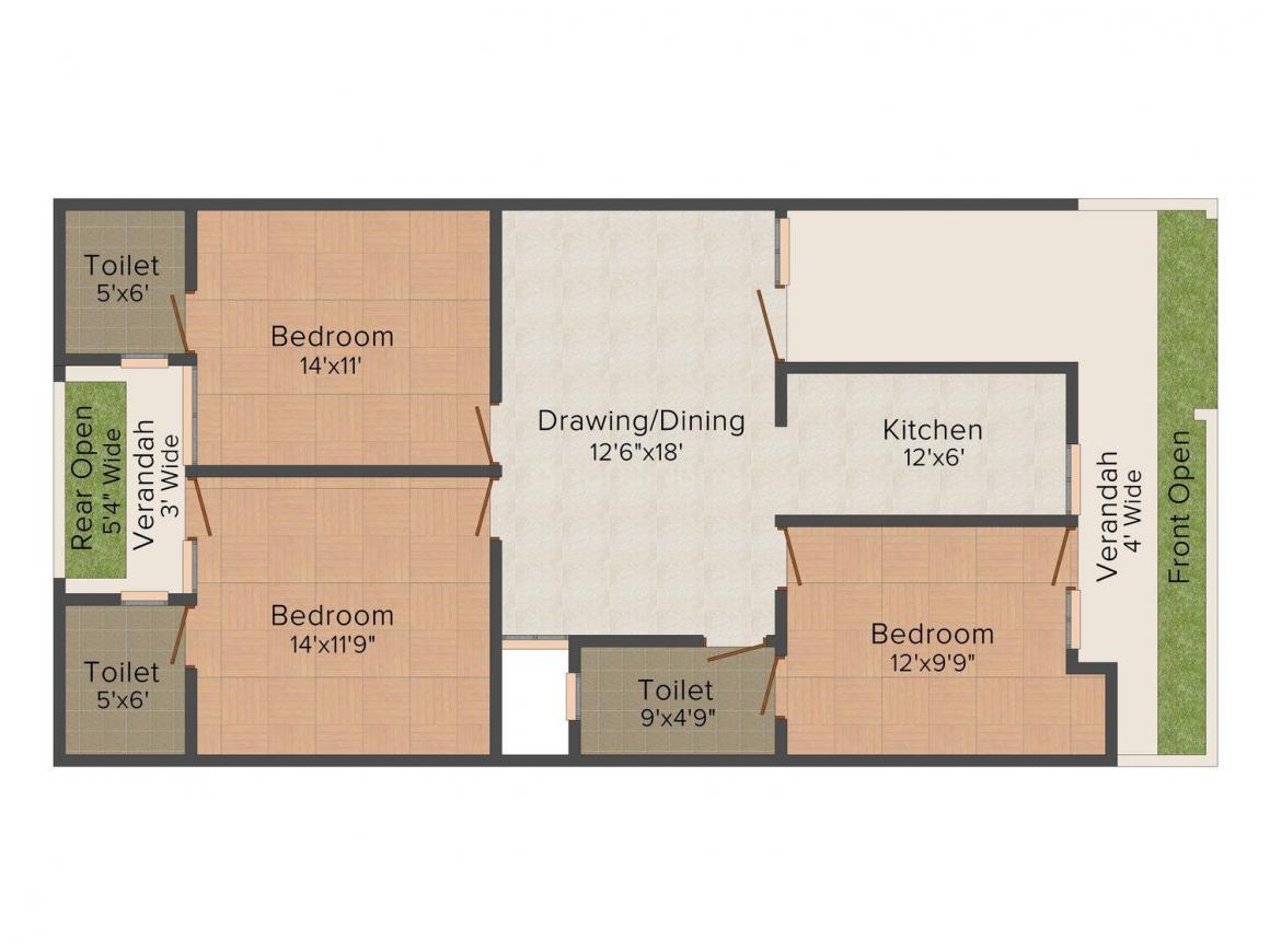 Nirwan Homes - 1 Floor Plan: 3 BHK Unit with Built up area of 1646 sq.ft 1