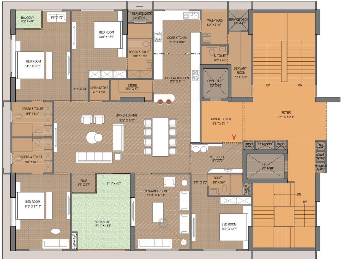 Venus Pashmina Floor Plan: 4 BHK Unit with Built up area of 2714 sq.ft 1
