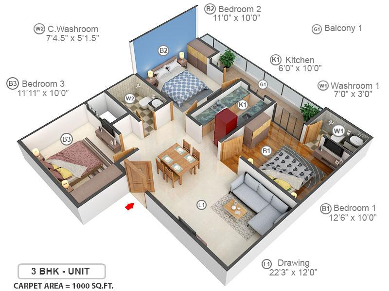 SSG Yash Residency 3 Floor Plan: 3 BHK Unit with Built up area of 1000 sq.ft 1