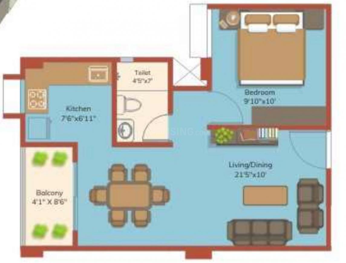 Roodraksh Kundan Floor Plan: 1 BHK Unit with Built up area of 406 sq.ft 1