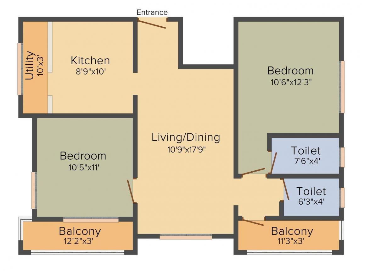 Floor Plan Image of 1025 - 1114 Sq.ft 2 BHK Apartment for buy in Jayantha Parijata