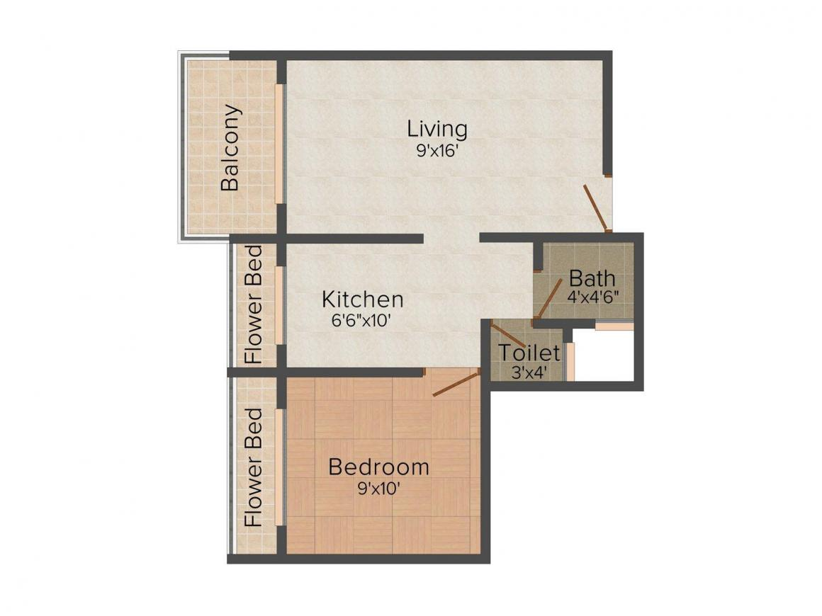 Floor Plan Image of 675 - 1055 Sq.ft 1 BHK Apartment for buy in S R Goodluck Heights