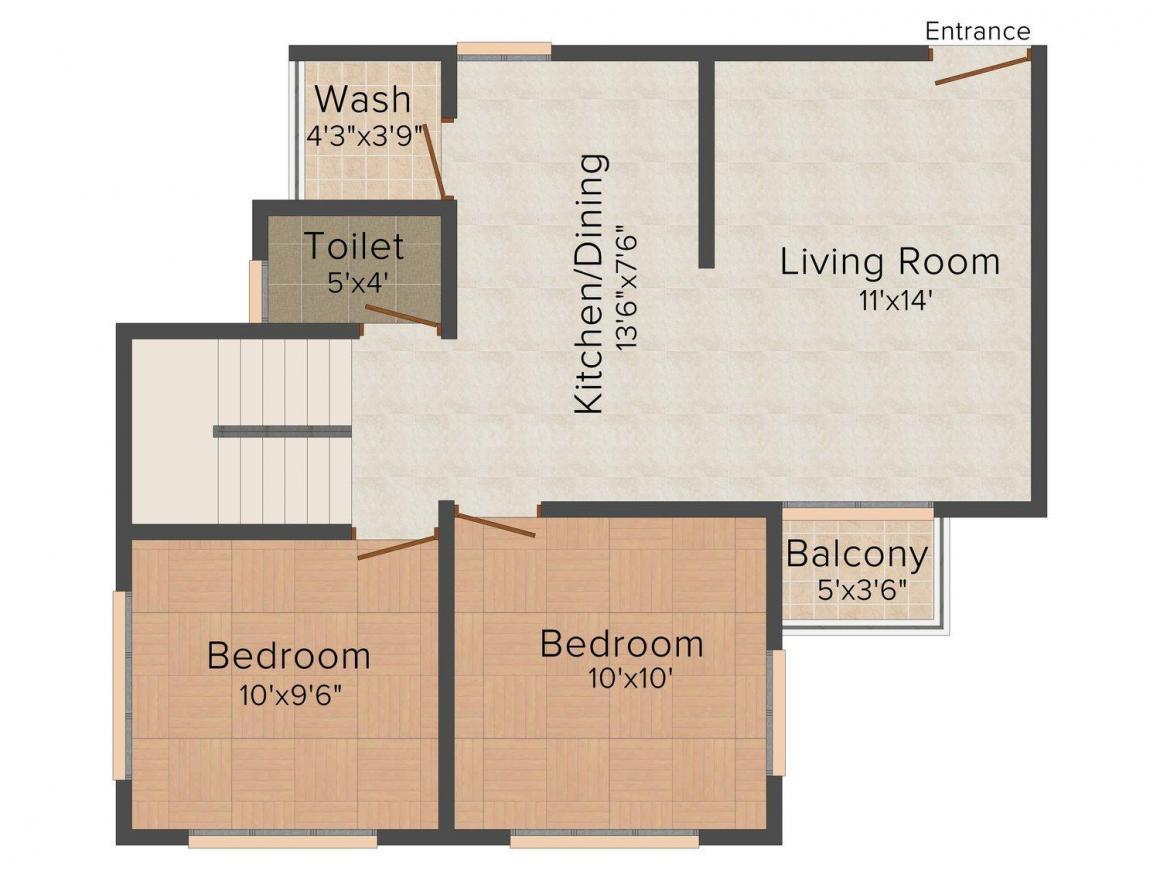 Floor Plan Image of 1100 - 1700 Sq.ft 2 BHK Apartment for buy in Shanti Vraj Nandan