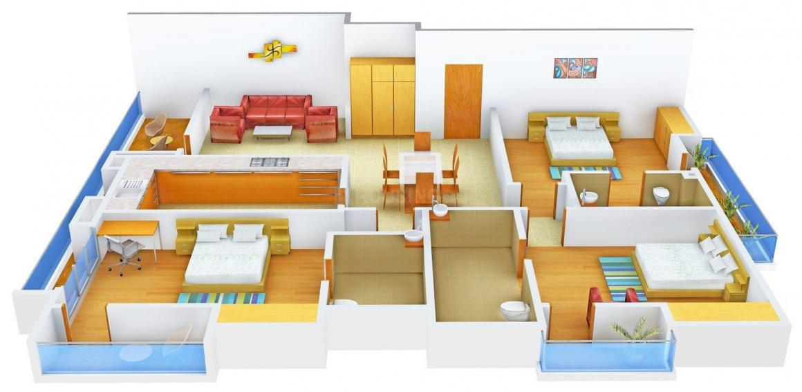 Shalimar Nest Floor Plan: 3 BHK Unit with Built up area of 2000 sq.ft 1