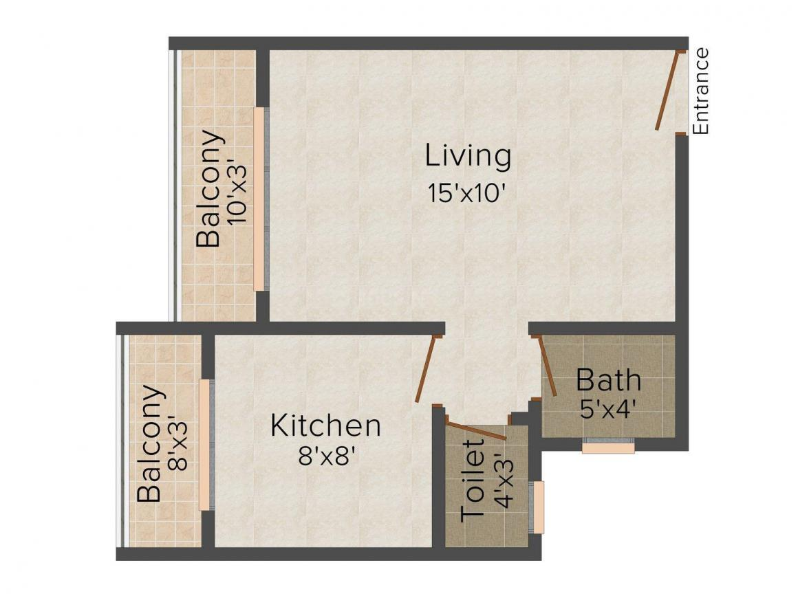Floor Plan Image of 415 - 720 Sq.ft 1 RK Apartment for buy in Varsha Orchid-II
