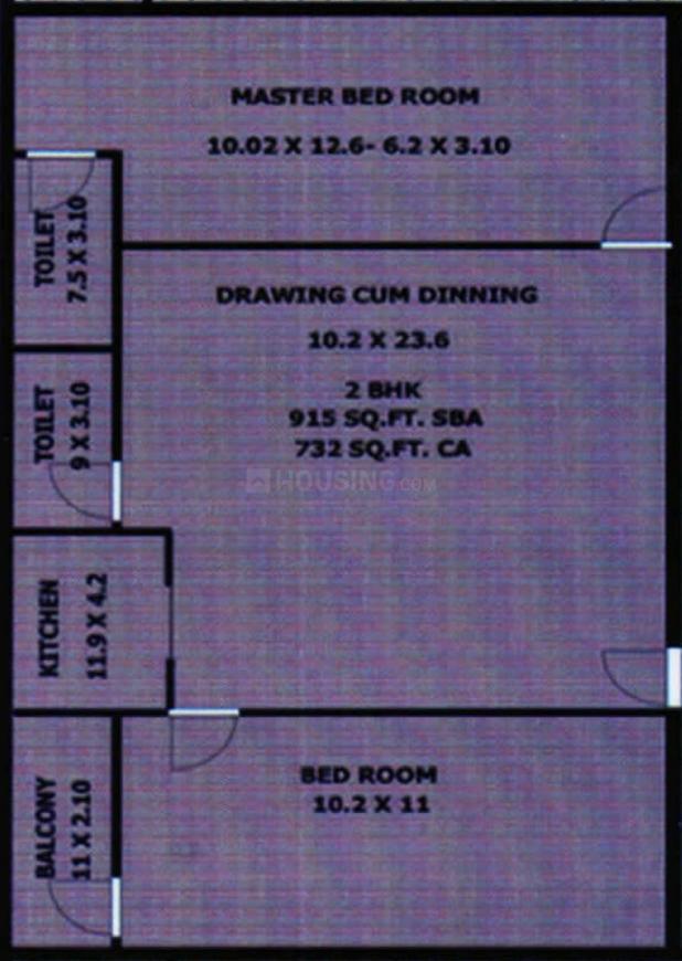 HTN Om Nivas Floor Plan: 2 BHK Unit with Built up area of 915 sq.ft 1