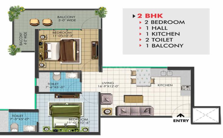 Op Floridaa Floor Plan: 2 BHK Unit with Built up area of 504 sq.ft 1