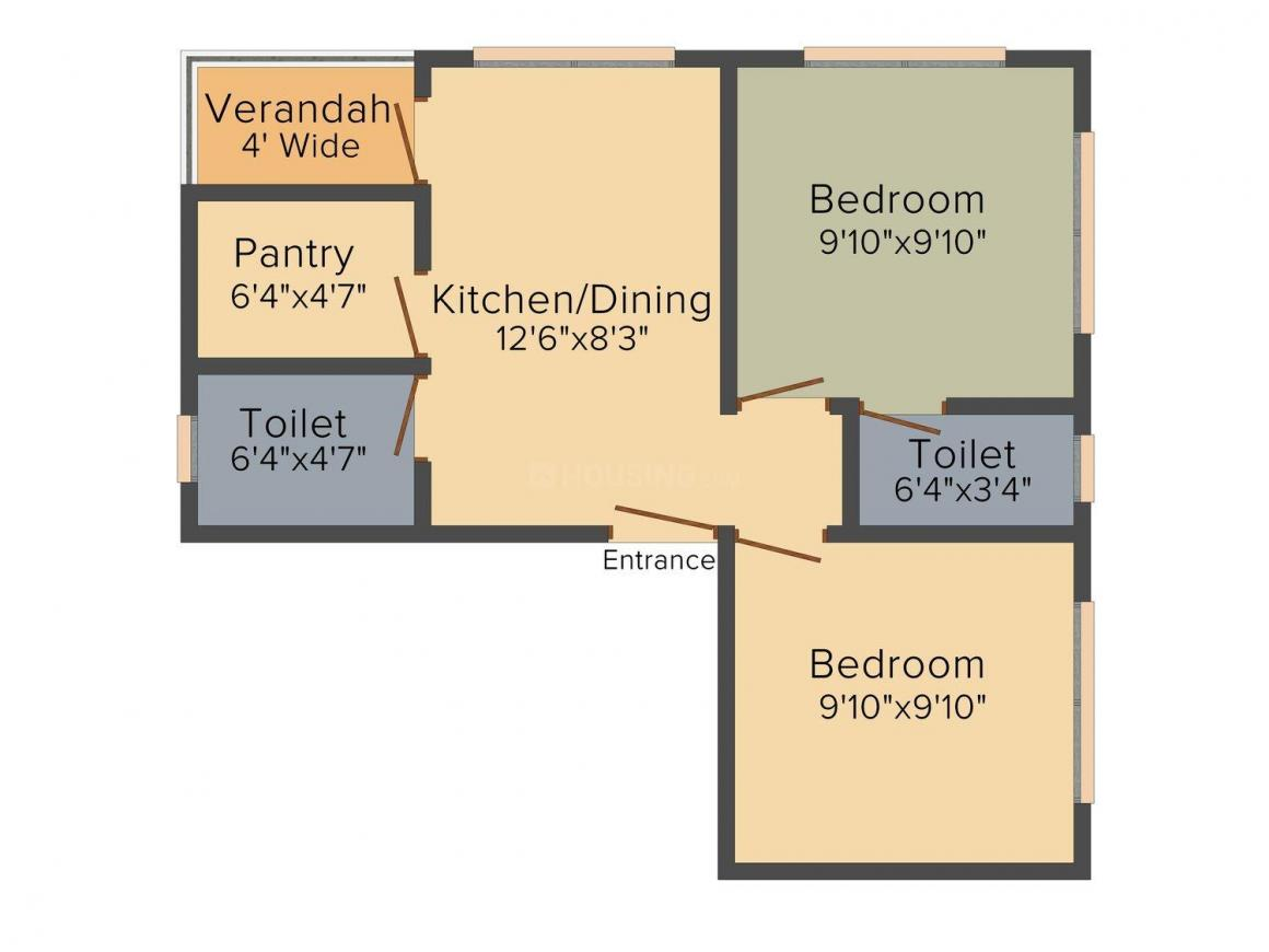 Floor Plan Image of 780.0 - 1176.0 Sq.ft 2 BHK Apartment for buy in Jeet Galaxy