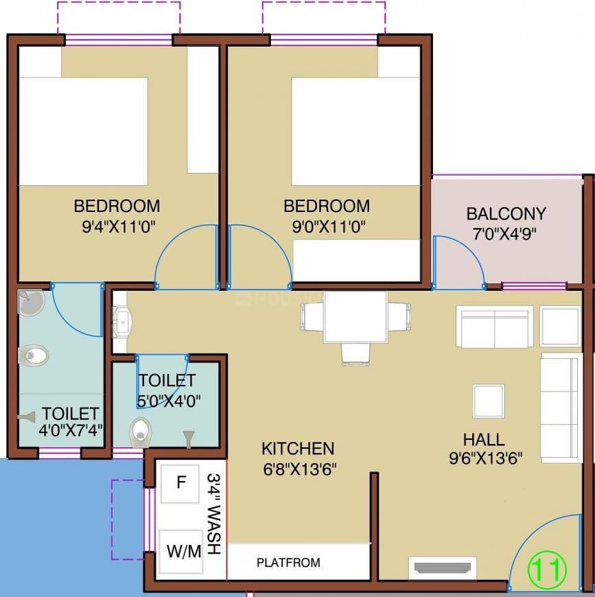Royal Lake City Royal Lake City A And B Floor Plan: 2 BHK Unit with Built up area of 484 sq.ft 1