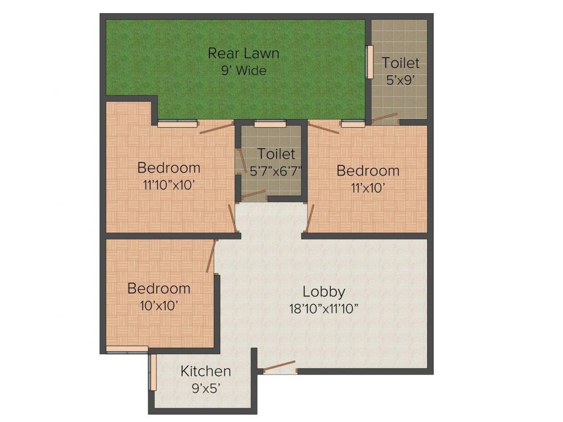 Uttam Floors 3 Floor Plan: 3 BHK Unit with Built up area of 2250 sq.ft 1
