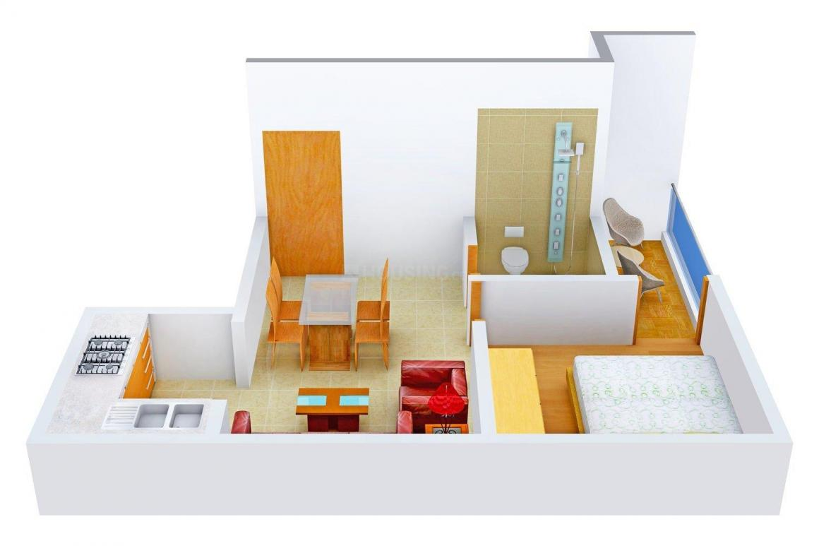 Floor Plan Image of 400.0 - 580.0 Sq.ft 1 BHK Apartment for buy in Real Bhumi Vrinda Apartment