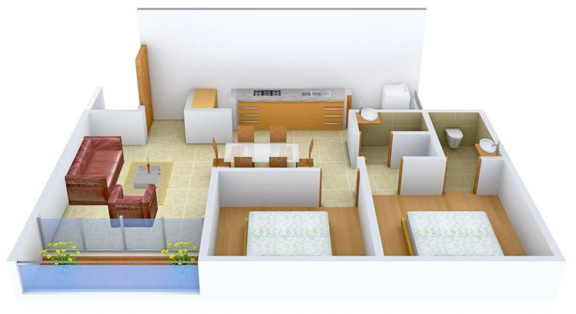 Ami Sanidhya Harmony Floor Plan: 2 BHK Unit with Built up area of 1395 sq.ft 1
