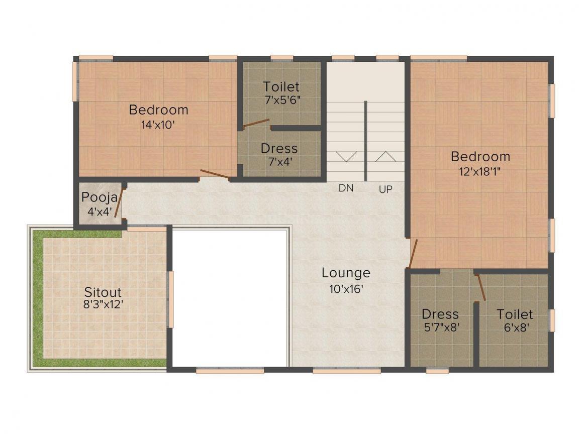 Giridhari Villa Onyx Floor Plan: 3 BHK Unit with Built up area of 2920 sq.ft 3
