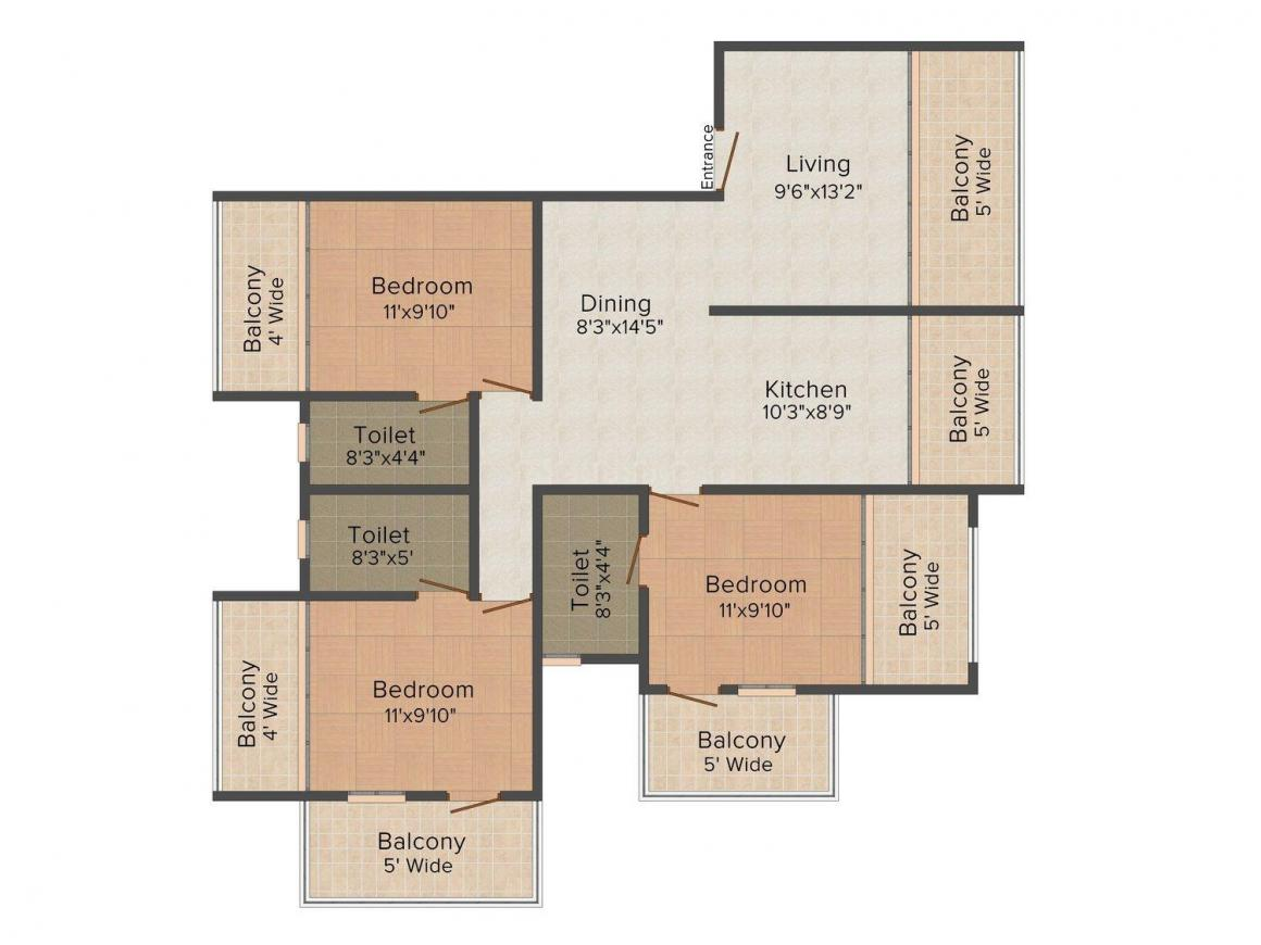 Floor Plan Image of 0 - 1884.0 Sq.ft 3 BHK Apartment for buy in Rajdeep Ideal Residency