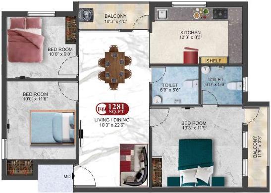 Floor Plan Image of 1215.0 - 1351.0 Sq.ft 3 BHK Apartment for buy in DAC Lakshmi Ram