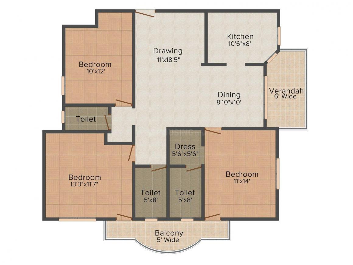 Markx Whispering Willow Floor Plan: 3 BHK Unit with Built up area of 1760 sq.ft 1