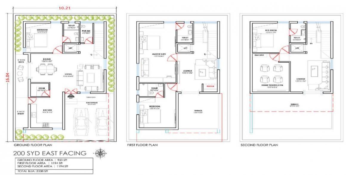 Sreenidhi Luxury Park 2 Floor Plan: 4 BHK Unit with Built up area of 3338 sq.ft 1