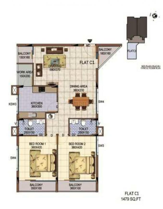 Kalyan Marvella Floor Plan: 2 BHK Unit with Built up area of 1479 sq.ft 1