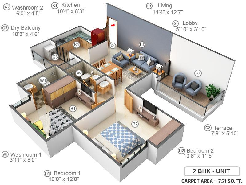 Pebbles Urbania Floor Plan: 2 BHK Unit with Built up area of 751 sq.ft 1