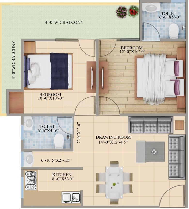 Sundaram Shri Sai Heritage Appartments Floor Plan: 2 BHK Unit with Built up area of 960 sq.ft 1