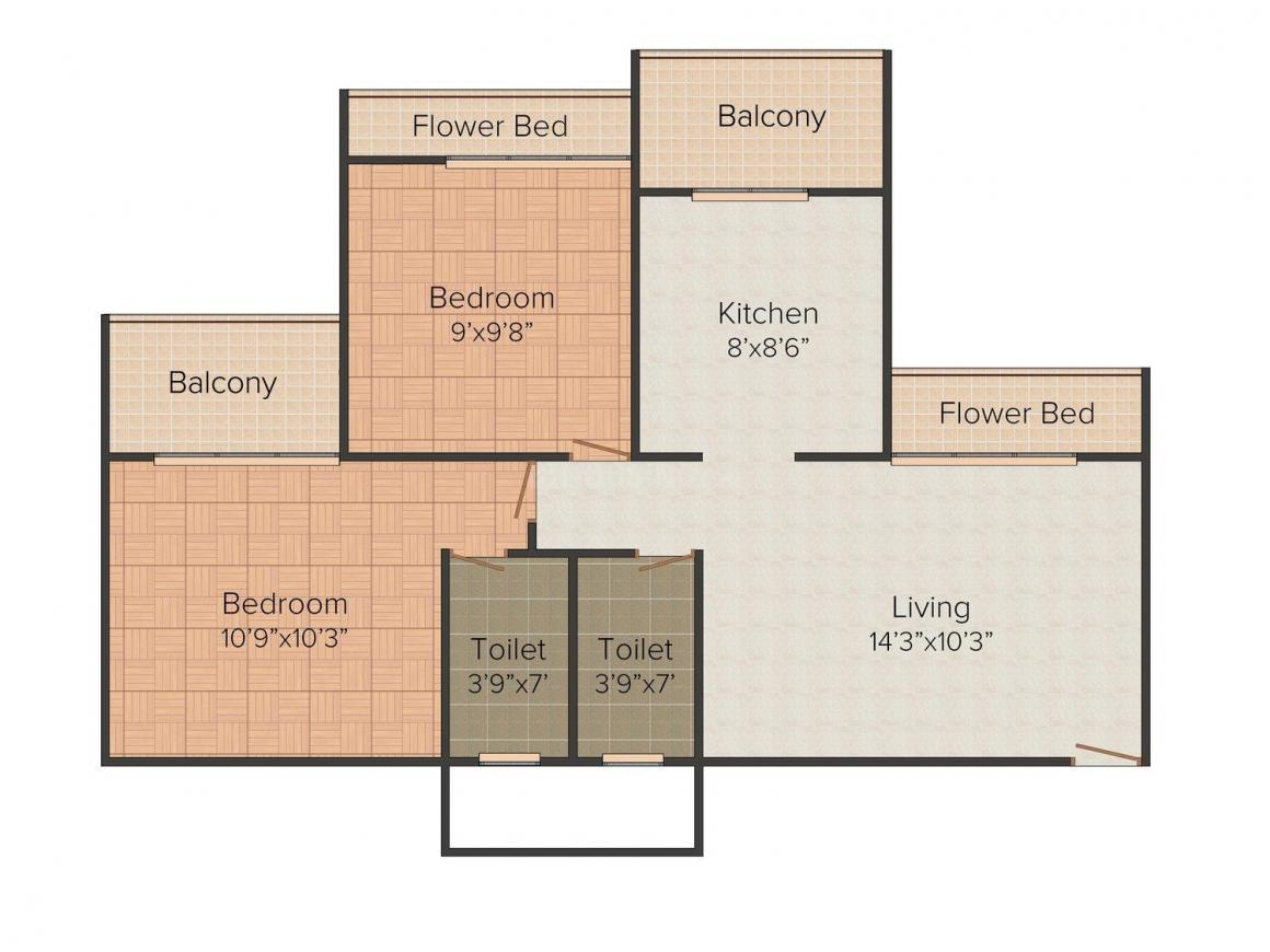 Floor Plan Image of 1000 - 1300 Sq.ft 2 BHK Apartment for buy in JBD Excellence Tower