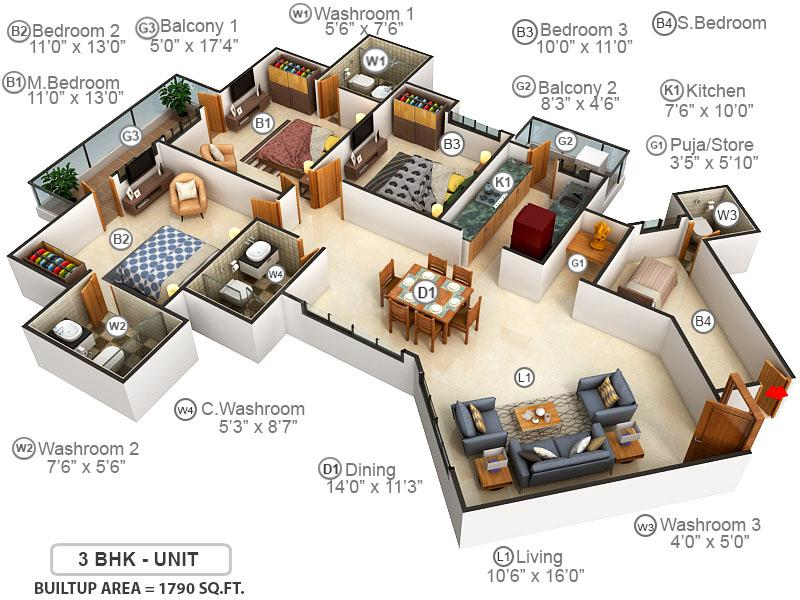 Mapsko Royale Ville Floor Plan: 3 BHK Unit with Built up area of 1790 sq.ft 1