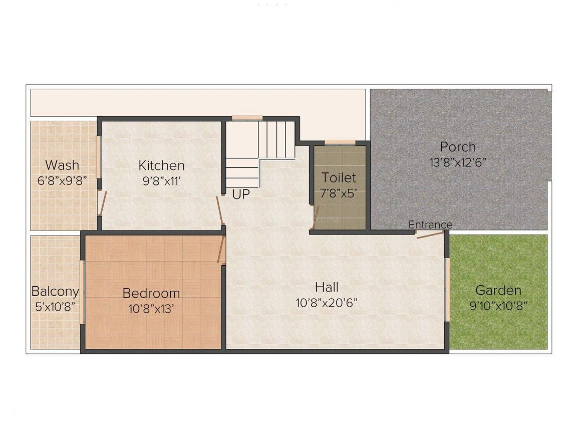 Shiva Residency Phase II Floor Plan: 3 BHK Unit with Built up area of 1750 sq.ft 1