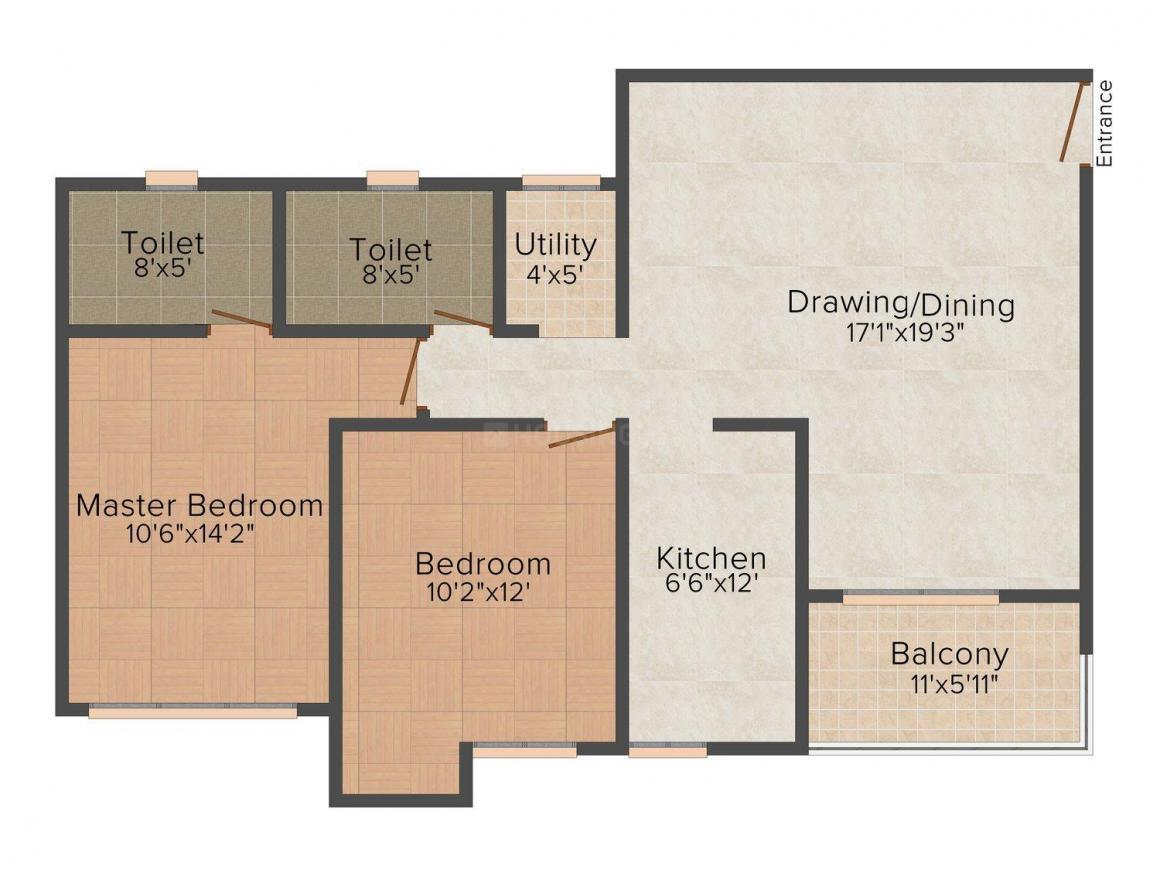 Floor Plan Image of 0 - 1175 Sq.ft 2 BHK Apartment for buy in Ashiana Lotus