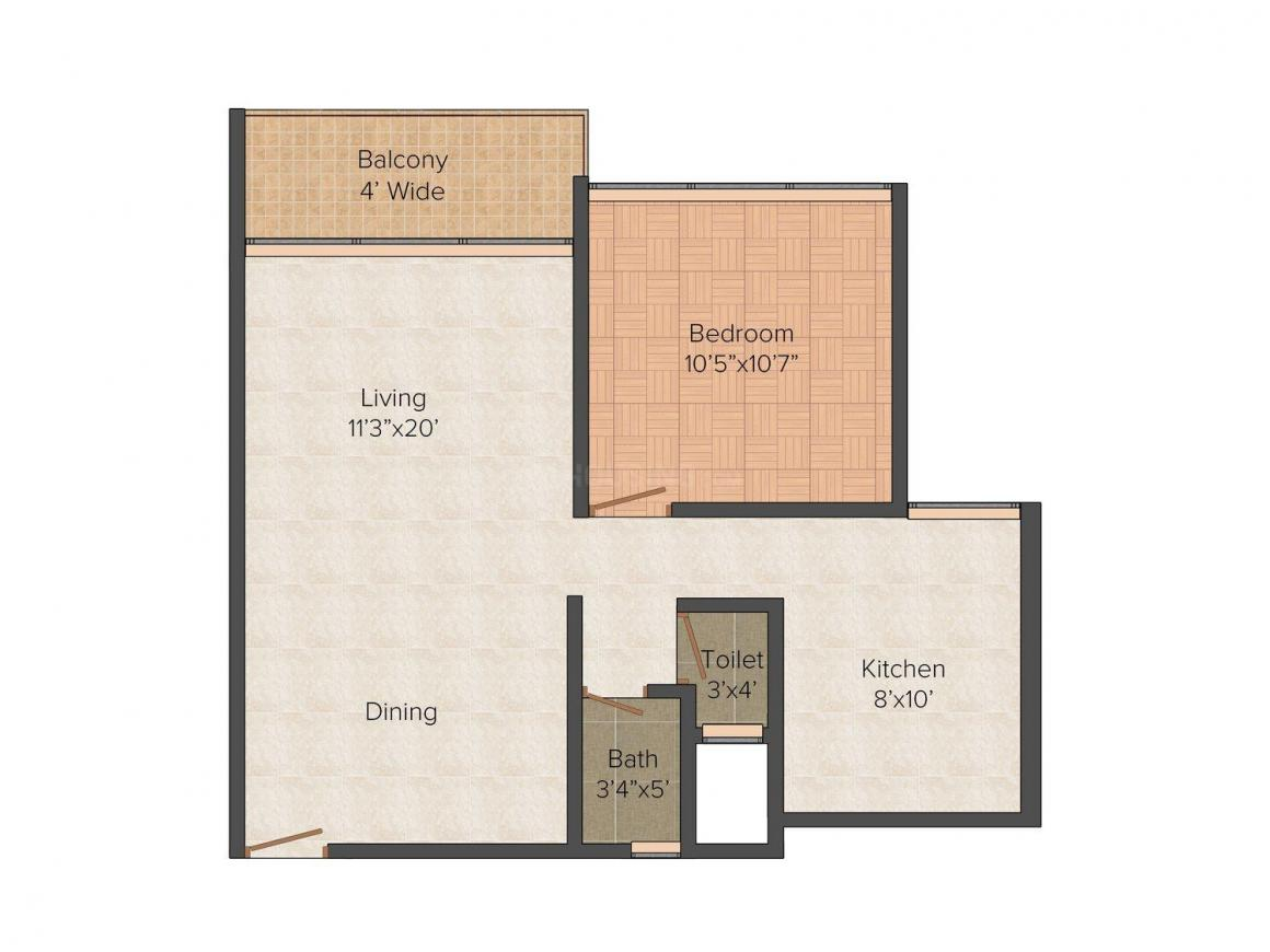 Floor Plan Image of 405.0 - 771.0 Sq.ft 1 BHK Apartment for buy in A & O Palazzio