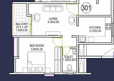 Gulmohar Notting Hill Phase II Floor Plan: 1 BHK Unit with Built up area of 431 sq.ft 1