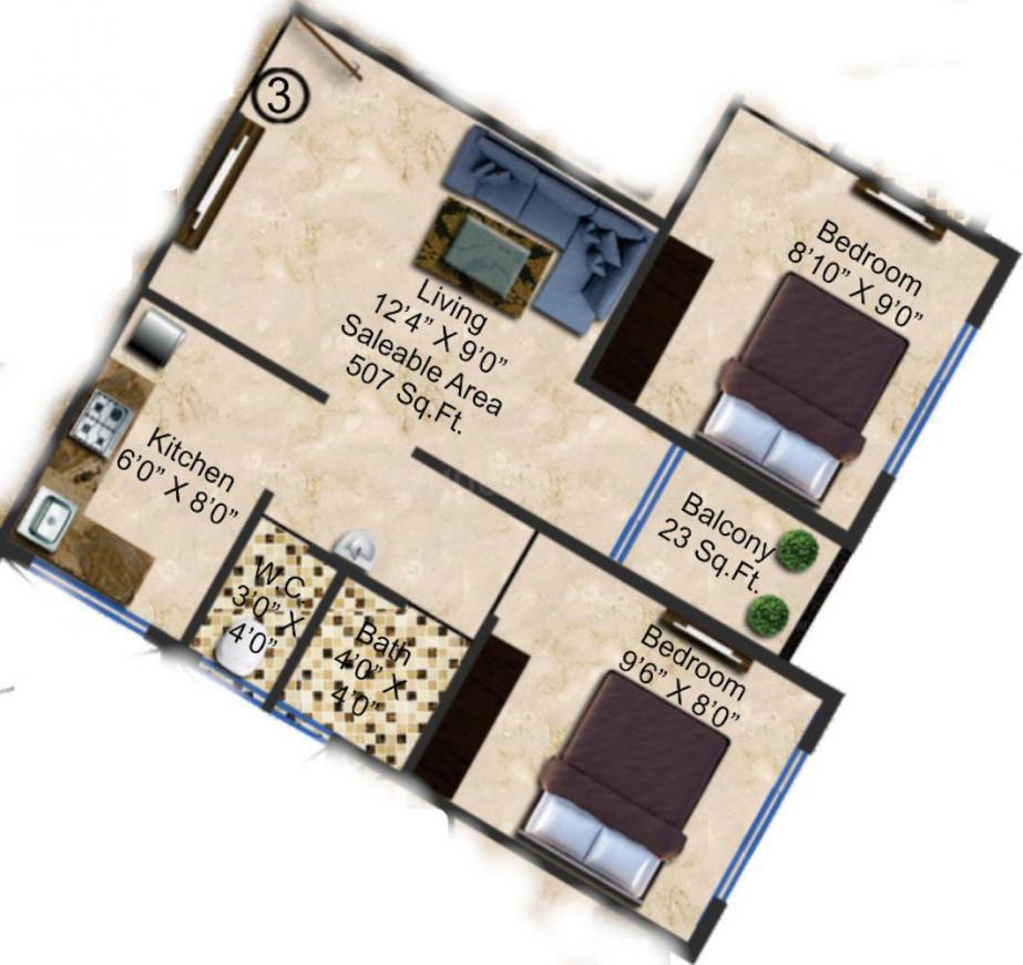 Arya Savlaram Apartment Floor Plan: 1 BHK Unit with Built up area of 507 sq.ft 1