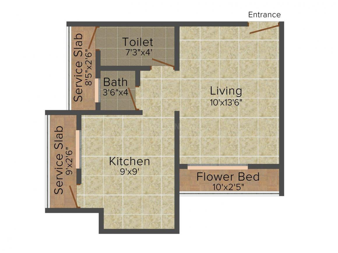 Floor Plan Image of 293.0 - 680.0 Sq.ft 1 RK Apartment for buy in Cosmos Infinity