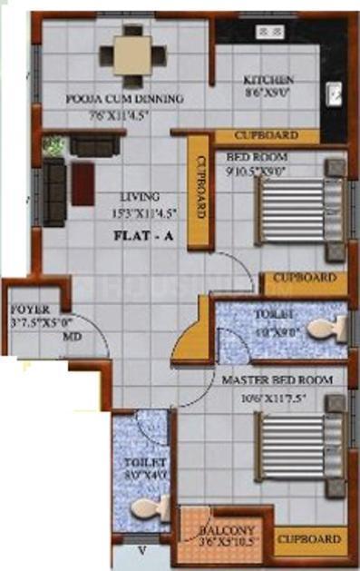 Guna Pallavaram Flats Floor Plan: 2 BHK Unit with Built up area of 865 sq.ft 1