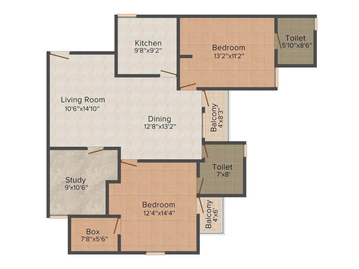Floor Plan Image of 1375 - 1750 Sq.ft 2 BHK Apartment for buy in Raj Surya Shyam