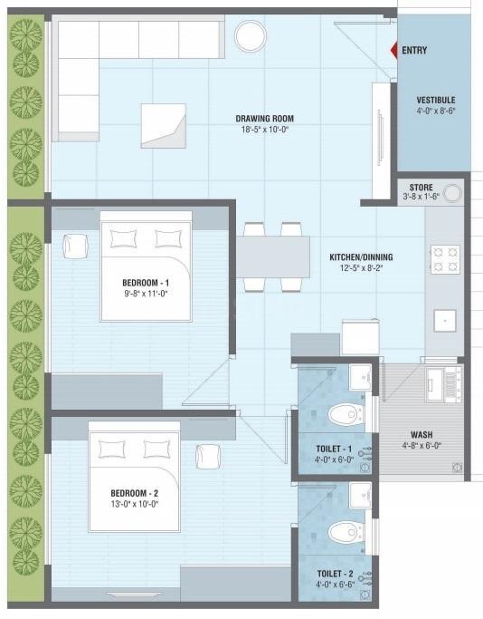 Rashmi Nirvana Floor Plan: 2 BHK Unit with Built up area of 1296 sq.ft 1